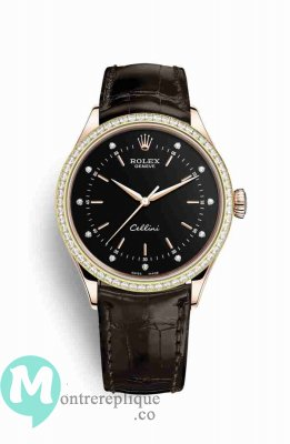 Replique Montre Rolex Cellini Time 18 ct Everose 50705RBR noirs