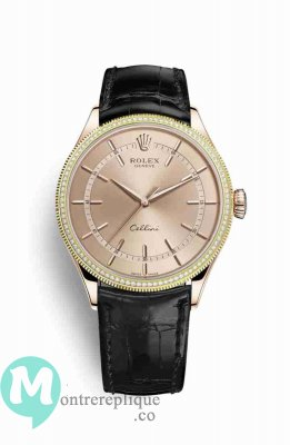 Replique Montre Rolex Cellini Time 18 ct Everose 50605RBR