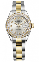Rolex Lady-Datejust 28 Argent Diamond Bezel Or jaune Inoxydable Acier