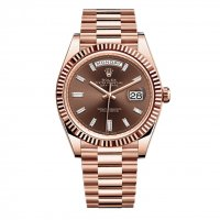 Rolex Day-Date 40 Chocolate Baguette Diamond Cadran 18K Everose Gold Automatique