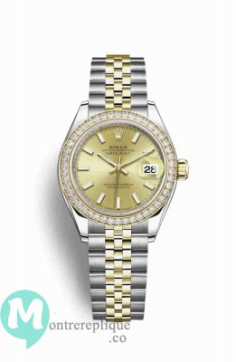 Replique Montre Rolex Datejust 28 Jaune Roles jaune 18 ct 279383RBR
