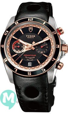 Tudor Grantour Chrono Fly-Back cadran noir en cuir noir homme 20551N-leather