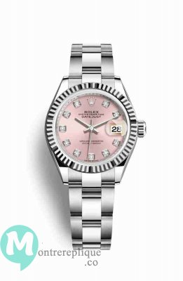 Replique Montre Rolex Datejust 28 blanc Roles blanc 279174 Rose set