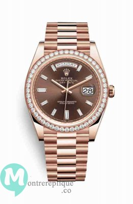 Replique Montre Rolex Day-Date 40 Everose 228345RBR Set chocolat Cadran