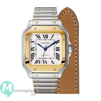 Copie de Cartier Santos Acier Or jaune 18 carats Automatique Medium