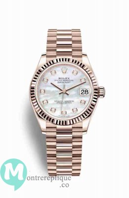Replique Montre Rolex Datejust 31 18 ct Everose 278275 Blanc nacre sertie de Cadran