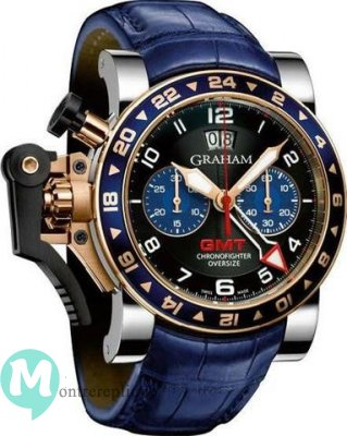 Graham Chronofighter Oversize GMT Blue Acier & Gold Homme 2OVGG.B26A