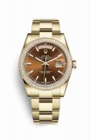 Replique Montre Rolex Day-Date 36 jaune 18 ct 118348 Cognac Cadran