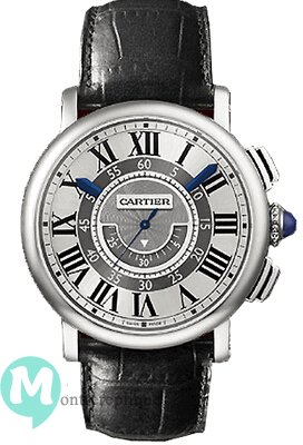 Rotonde de Cartier Central Chronographe 18kt Oro blanco Case unisexe Replique Montre W1556051