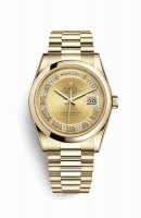 Replique Montre Rolex Day-Date 36 jaune 18 ct 118208 Champagne