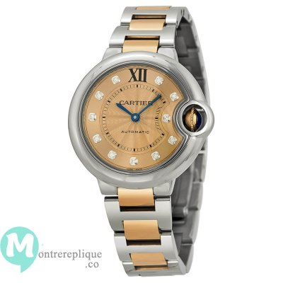 Cartier Ballon Bleu l\'acier inoxydable and 18kt Rose or mesdames Replique Montre WE902053