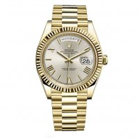 Rolex Day-Date 40 Automatique Cadran Argente 18kt or jaune