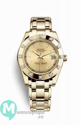 Replique Montre Rolex Pearlmaster 34 jaune 18 ct 81318