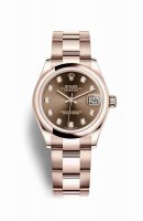 Réplique Montre Rolex Datejust 31 Everose 278245 Set chocolat Cadran
