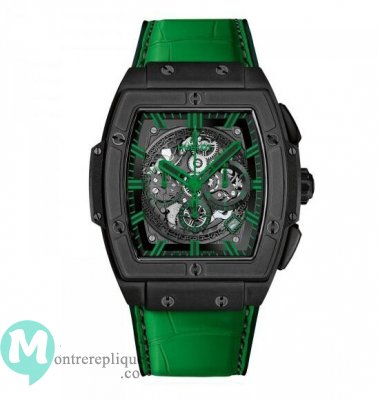 Hublot Spirit Of Big Bang All Black vert Alligator Cuir 601.CG.0190.LR