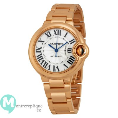 Cartier Ballon Bleu argent composer 18kt Rose or mesdames Replique Montre