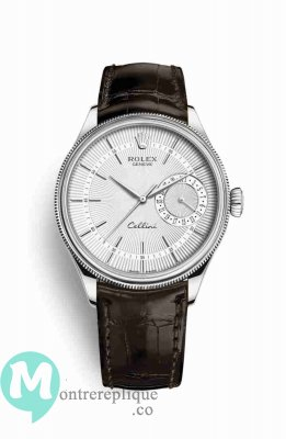 Replique Montre Rolex Cellini Date blanc guilloche Cadran m50519-0012