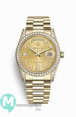 Replique Montre Rolex Day-Date 36 jaune 18 ct en semble de cosses 118388
